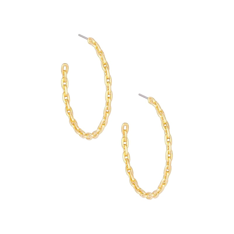 Uncommon James: Chain Hoops Medium Earrings - Gold
