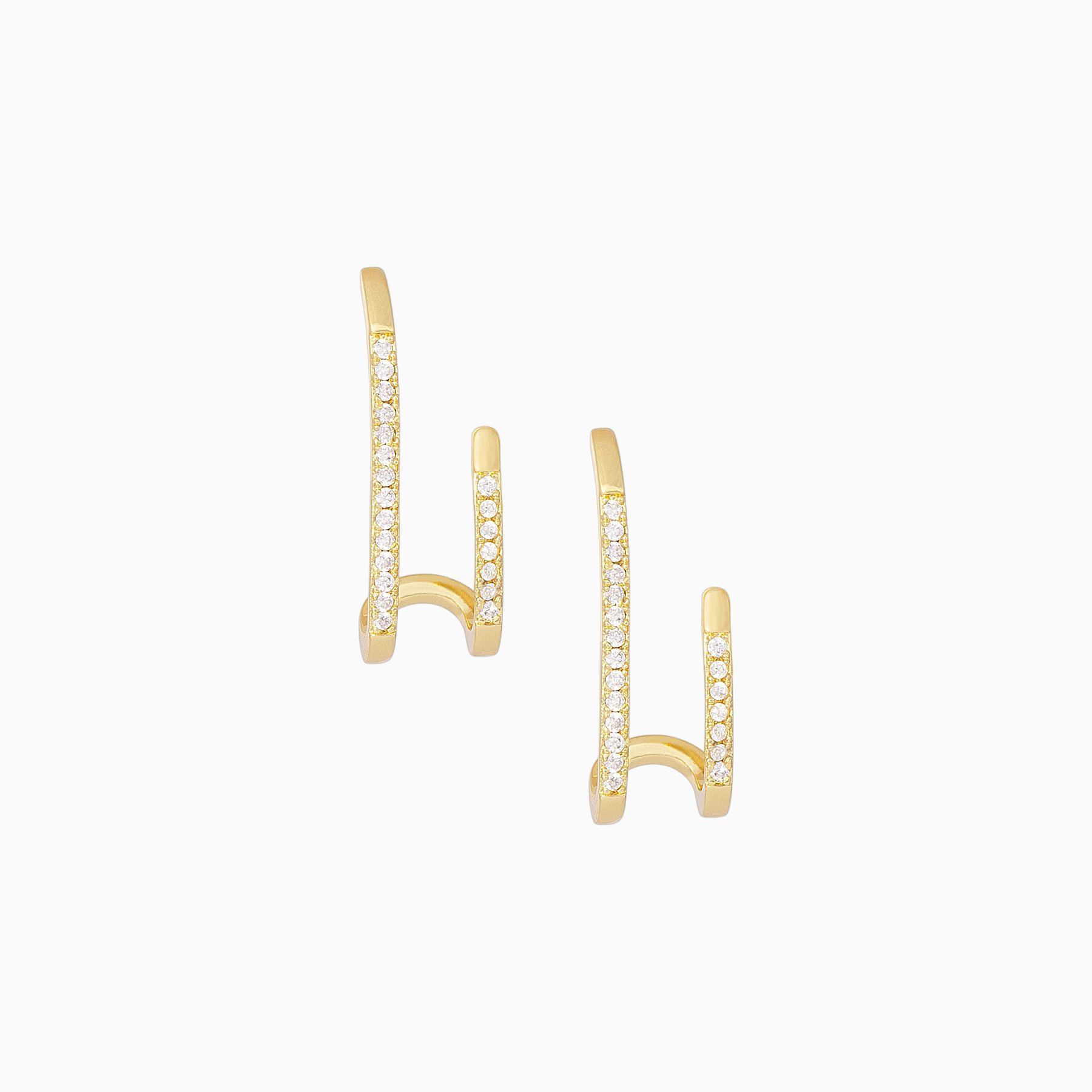 Uncommon James: Double Vision Ear Climber Earrings - Gold